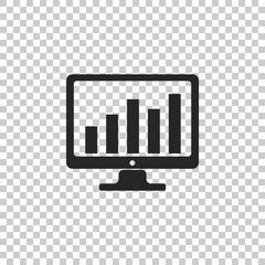 Computer screen with financial charts and graphs icon isolated on transparent background. Chart Bars and Financial Analytics. Flat design. Vector Illustration