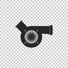Automotive turbocharger icon isolated on transparent background. Vehicle performance turbo icon. Car turbocharger sign. Turbo compressor induction symbol. Flat design. Vector Illustration