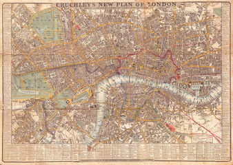 1848, Crutchley Pocket Map or Plan of London, England