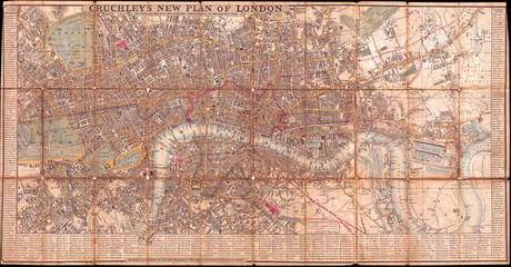 Fotomurales - 1849, Cruchley Pocket Map of London, England
