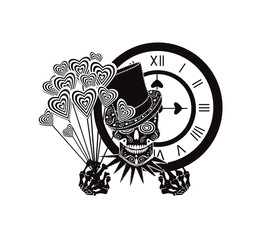 Skull icon with heart balloons and clock, black and white background