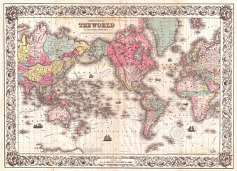 1852, Colton's Map of the World on Mercator's Projection, Pocket Map