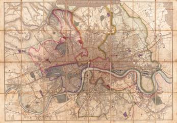 Fototapete - 1852, Davies Case Map or Pocket Map of London, England