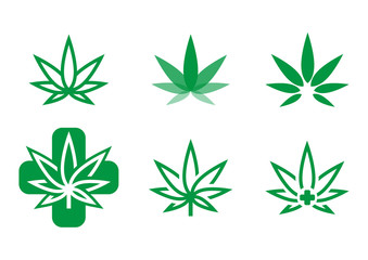marijuana logo, cannabis logo set, medical marijuana logo, marihuana illustration