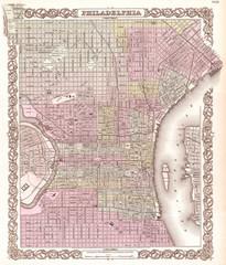 1855, Colton Plan or Map of Philadelphia, Pennsylvania