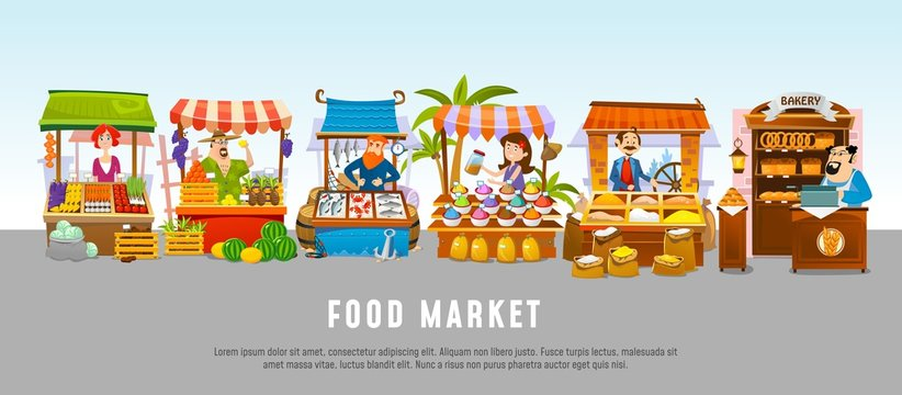 Food market cartoon banner concept. Local business vector illustration