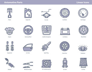 Vector car parts colored outline icons set
