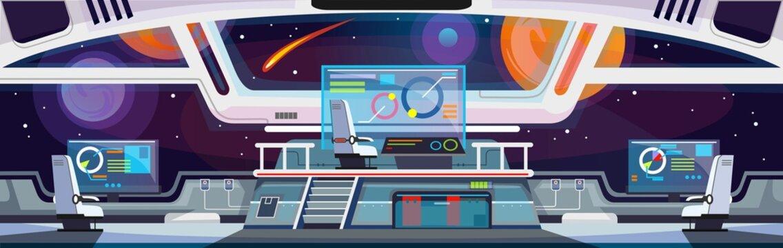Cartoon spaceship interior design. Vector illustration