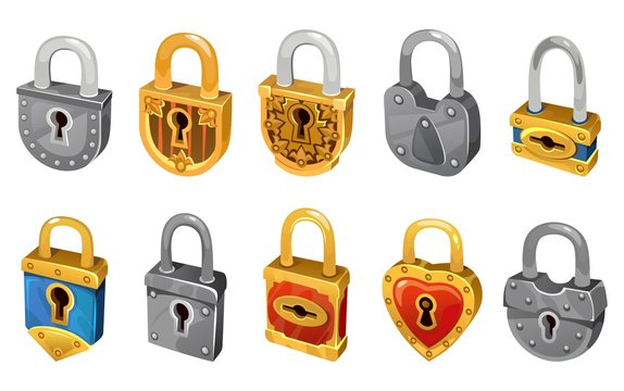 Vector lock set isolated on white background for security protection. Vector locking mechanism icons for web design, games, ui, etc.