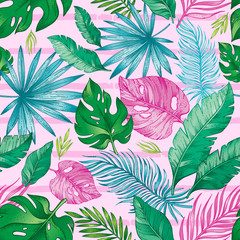 Tropic palm leaf seamless pattern. Tropical nature hand drawn sketch illustration. Exotic summer, spring trendy background with green jungle leaves pink red stripes. Feminine print for woman fabric