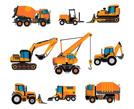 Set of different building equipment on white background. Concrete mixer, wheel loaders, excavator, bulldozer, front loader, backhoe loader.