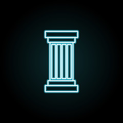 Column icon in neon style. Simple thin line, outline vector of education icons for UI and UX, website or mobile application