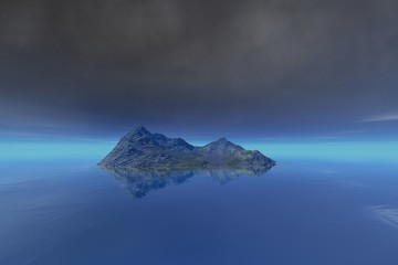 Island, a mediterranean landscape, rocks and grass on the ground, blue water and clouds in the sky.