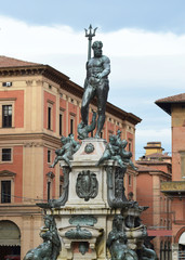 Neptune fountain in the Piazza del Nettuno in Bologna, Italy