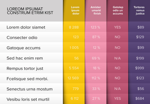 Colorful Table Infographic Layout