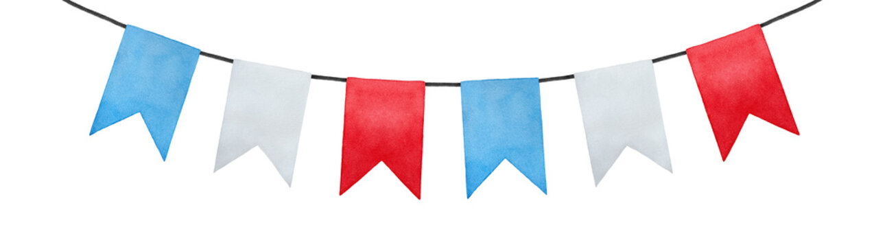 Joyful and positive pennant bunting banner flags illustration. Rectangular shape; sky blue, pure white, bright red colors. Handmade watercolour painting, cut out clip art element for design and decor.