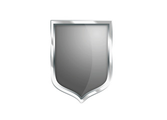 Silver Gray shield icon isolated on white background