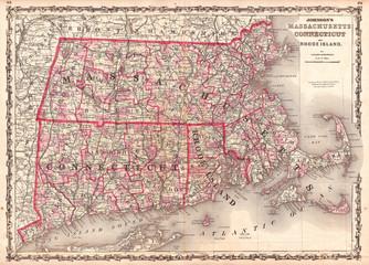 1861, Johnson Map of Massachusetts, Connecticut and Rhode Island