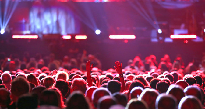 many girls and boys at concert