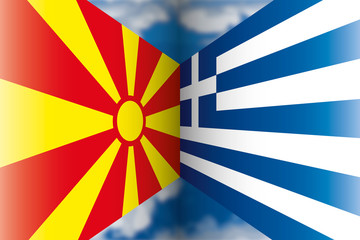 North Macedonia vs Greece flags, European countries, vector illustration on the blue sky