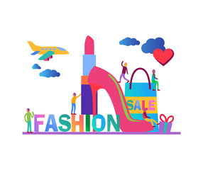 Flat vector illustration, fashion items colored web graphic design banner.zip