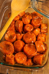 Dish of candied baked sweet potatoes