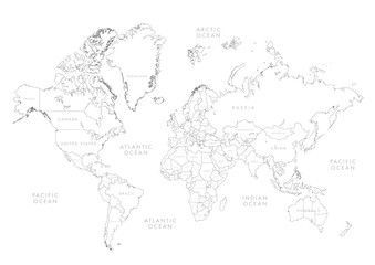 Highly detailed world map with labeling. Border country vector illustration.