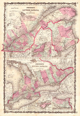 1862, Johnson Map of Ontario and Quebec, Canada