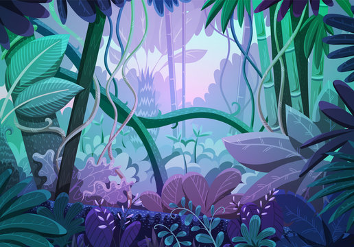 Vector illustration of tropical jungle background. Landscape with purple and pink colors at sunrise. Rainforest with dense vegetation of trees, bushes and lianes.
