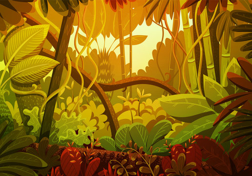 Vector illustration of tropical jungle background. Landscape with orange and green colors at sunset. Rainforest with dense vegetation of trees, bushes and lianes.