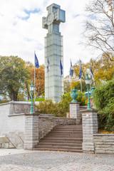 Europe, Eastern Europe, Baltic States, Estonia, Tallinn. War of Independence Victory column.  Stone Cross. Eesti Vabadussoda.