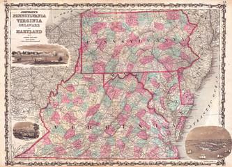 1862, Johnson Map of Virginia, Maryland, Delaware and Pennsylvania