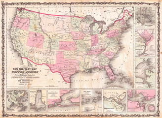 Fototapete - 1862, Johnson Military Map of the United States, Civil War