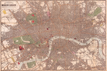 Fototapete - 1862, Reynolds Pocket Map of London, England