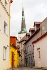 Europe, Eastern Europe, Baltic States, Estonia, Tallinn. St. Olaf's Church tower in Old town.