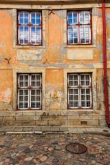 Europe, Eastern Europe, Baltic States, Estonia, Tallinn. Old town, city windows. Peeling paint.