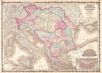 Fototapete - 1863, Johnson Map of Austria, Hungary, Turkey, Italy and Greece