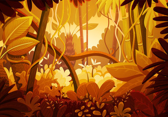 Vector illustration of tropical jungle background. Landscape with orange and red colors at sunset. Rainforest with dense vegetation of trees, bushes and lianes.