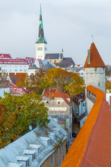 Europe, Eastern Europe, Baltic States, Estonia, Tallinn. old town, along the city walls. Roof tops. Skyline. St. Olaf's Church steeple.