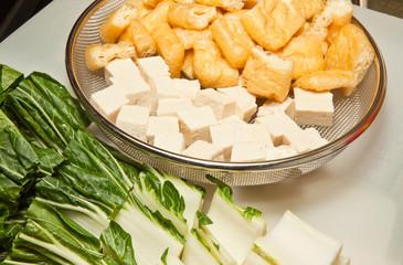 Bok choy, tofu, fried tofu for stir fry