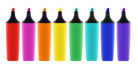 Eight colored highlighter pens with clipping path