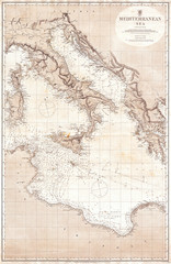 Fototapete - 1868, British Admiralty Chart or Map of the Mediterranean Sea, Italy, Corsica, Greece, Tunisia