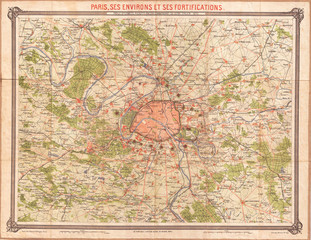 1870, Erhard Map of Paris and Vicinity, France