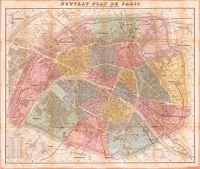 1870, Hachette Pocket Map of Paris, France