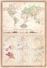1870, Johnson Climate Map of the World w- Physical Map, Tidal Map, Races and Declination
