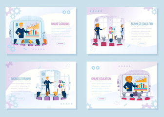 Business Education Courses Vector Web Banners Set