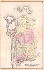 1873, Beers Map of Astoria and Long Island City, Queens, New York