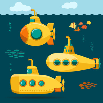 Yellow Submarine undersea with fishes, cartoon style. Vector