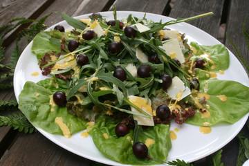 organic lifestyle rucolasalat kurkuma senf dressing parmesan trauben