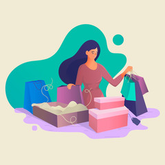 Girl after shopping with purchases. Online Shopping for Women. Seasonal sale at store, shop, mall.